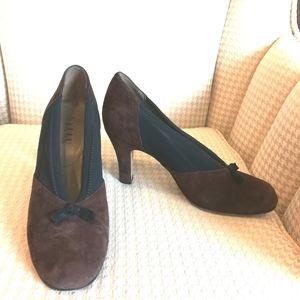 Anyi Lu brown and black suede heels